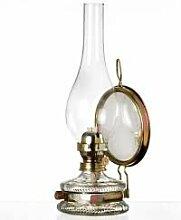 Oellampe antikes Design mit Spiegel Petroleumlampe befüllbar mit Fuß aus transparentem Glas dekorative Petroleumlampe mit verziertem gold farbigen Dochthalter in Messinghalterung mundgeblasen Höhe ca. 32,5 cm