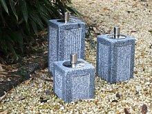 Öllampe aus hellem Granit mit Edelstahlbehälter