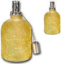 Öllampe Petroleumlampe Gartenlampe Glas gefrostet gelb