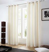 Öse Vorhänge, fertige Vorhänge, Flächenvorhänge Samt, 147cm x 137 cm, creme