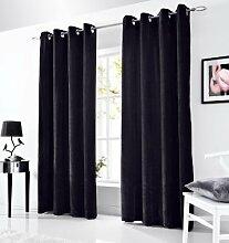 Öse Vorhänge, fertige Vorhänge, Flächenvorhänge Samt, 147cm x 229cm, schwarz