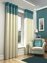 Öse Vorhänge, gesäumt fertige Vorhänge, Skye, 117cm x 183cm, Knickentenblau