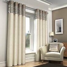 Öse Vorhänge, gesäumt fertige Vorhänge, Skye, 168cm x 183cm, creme