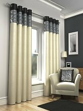 Öse Vorhänge, gesäumt fertige Vorhänge, Skye, 228cm x 183cm, schwarz