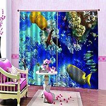 Ösenschal Gardinen Farbe Fisch 2Er-Set