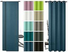 Ösenschal oder Schiebevorhang - blickdichtes Panamagewebe - grob strukturierter Stoff in 10 Farben, Schiebevorhang, blau