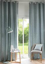 Ösenvorhang aus blaugrauem Stoff, 1 Vorhang
