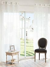 Ösenvorhang aus ecru Leinen, 140x250, 1 Vorhang