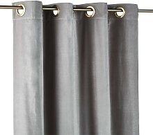 Ösenvorhang aus grauem Samt, 1 Vorhang 140x300