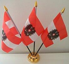 Österreich Österreichische Eagle 3Flagge Desktop Tisch mit Gold Boden