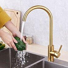 OEWFM Wasserhahn Gold Küchenarmatur Gold Messing