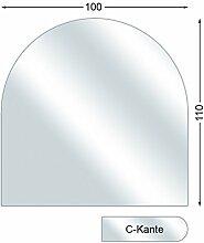 Ofenexperte Funkenschutzplatte, Glasbodenplatte mit C-Kante, Rundbogen, 6 mm stark, 100 x 110 cm