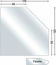Ofenexperte Funkenschutzplatte, Glasbodenplatte mit Facette, Fünfeck, 6 mm stark, 125 x 125 cm