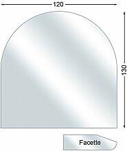 Ofenexperte Funkenschutzplatte, Glasbodenplatte mit Facette, Rundbogen, 6 mm stark, 120 x 130 cm