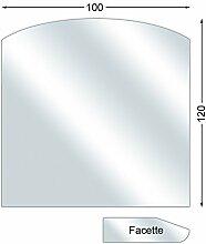 Ofenexperte Funkenschutzplatte, Glasbodenplatte mit Facette, Segmentbogen, 6 mm stark, 100 x 120 cm