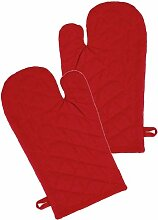Ofenhandschuh im 2er Grillhandschuh Set Design Klassik Uni, 19x32cm, Farbe: ro