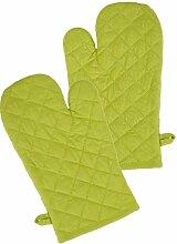Ofenhandschuh im 2er Grillhandschuh Set Design Klassik Uni , 19x32 cm, Farbe: grün