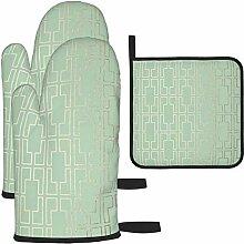 Ofenhandschuhe und Topflappen 3-teiliges Set,