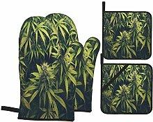 Ofenhandschuhe und Topflappen 4er-Sets,Marihuana