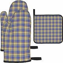 Ofenhandschuhe und Topflappen-Set, Blaue Kontrolle