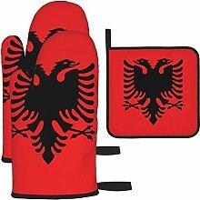 Ofenhandschuhe und Topflappen Set, Flagge von