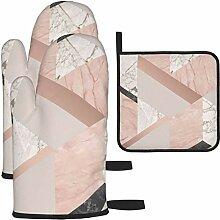 Ofenhandschuhe und Topflappen-Set, geometrischer