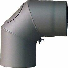 Ofenrohr-Bogen mit Tür, 120 mm, 90, grau 2003041