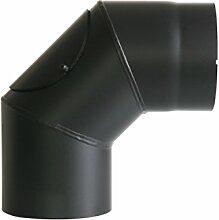 Ofenrohr Rosette Bogen Rohrhalter Kaminzubehör schwarz & grau versch. Größen, Farbe:schwarz, Bauteil:Bogen 90° Ø 150 mm