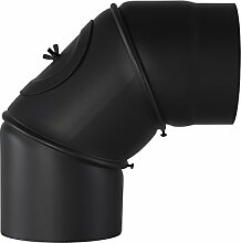 Ofenrohr Rosette Bogen Rohrhalter Kaminzubehör schwarz & grau versch. Größen, Farbe:schwarz, Bauteil:Bogen 90° Ø 130 mm