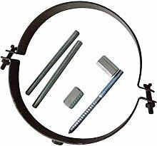 Ofenrohr Rosette Bogen Rohrhalter Kaminzubehör schwarz & grau versch. Größen, Farbe:gussgrau, Bauteil:Rohrhalter für 150mm