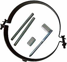 Ofenrohr Rosette Bogen Rohrhalter Kaminzubehör schwarz & grau versch. Größen, Farbe:schwarz, Bauteil:Rohrhalter schwarz verstellbar