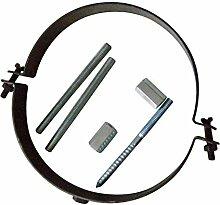Ofenrohr Rosette Bogen Rohrhalter Kaminzubehör schwarz & grau versch. Größen, Farbe:gussgrau, Bauteil:Rohrhalter gussgrau verstellbar
