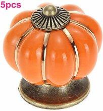 OFT 5pcs. Kürbis Griff knopf Schrank Möbelgriff Möbelknöpfe Tür Keramik Porzellan Blume Möbelknauf (orange)