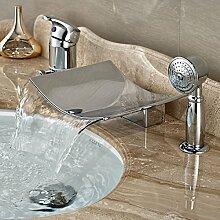 Ohcde Dheark Deck Mount Bad Badewanne Waschbecken Wasserhahn Einzigen Griff Weit Verbreitete Messing Chrom Mischbatterien, Braun
