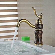 Ohcde Dheark Golden Und Marmor Badezimmer Waschbecken Wasserhahn Luxus Messing Mit Heißen Und Kalten Rohr, E