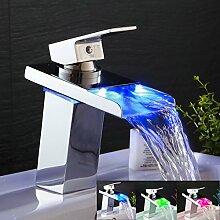 Ohcde Dheark Led Badezimmer Waschbecken Wasserhahn Messing Mischbatterie Wasserfall Armaturen Wasser Angetrieben