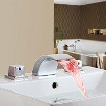 Ohcde Dheark Wasserfall Bad Waschbecken Mischbatterie Einhebel Armatur Chrom Led Deck Montiert Badezimmer Armaturen
