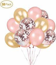 Ohighing 50 Stück Luftballons Rose Gold Konfetti