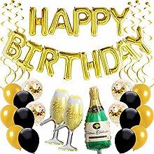 Ohighing Happy Birthday Ballon Gold Schwarz