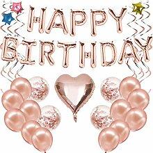 Ohighing Happy Birthday Ballon Rose Gold Girlande