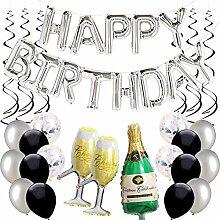 Ohighing Happy Birthday Ballon Silber Schwarz