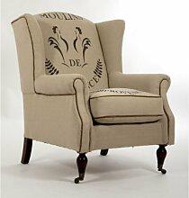 Ohrensessel Eiffel Vintage Leinen creme Leinenstoff Sessel