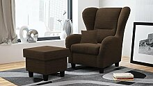 Ohrensessel mit Hocker braun, Stoff | Relaxsessel | Fernsehsessel | Schlafsessel | Lesesessel | Ruhesessel