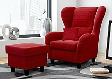Ohrensessel mit Hocker rot, Stoff | Relaxsessel | Fernsehsessel | Schlafsessel | Lesesessel | Ruhesessel