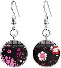 Ohrringe mit Kirschblüten-Motiv, rosa,