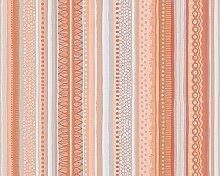 Oilily Streifen Design Tapete–Orange/Creme/Blau