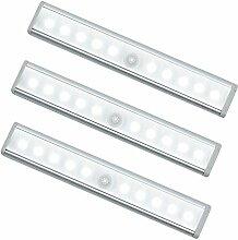 Oisee Schrankbeleuchtung LED Sensor licht Unterschrank Automatische LED Bewegungsmelder Batterie Nachtlicht mit Magnetische 10 LED-Licht für den Schrank oder die Schublade Treppen Schlafzimmer Küche(3 Stück)