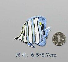 OJVVOP Marine Fisch Stickerei Patch Cartoon Tuch