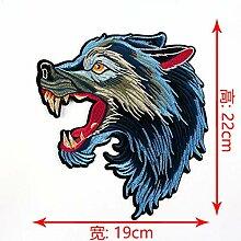 OJVVOP Wolf Kopf Stickerei Tuch Aufkleber Mode