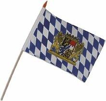 Oktoberfest 10 Stück Stabfahnen Bayern mit Wappen 30x40cm an Holzstab